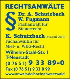 Anzeige Schutzbach Dr. u. Fugmann W.
