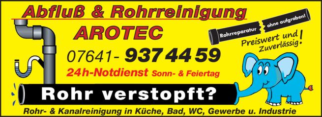 Anzeige AROTEC Abfluss & Rohrreinigung