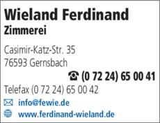 Anzeige Wieland Ferdinand, Zimmerei