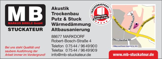 Anzeige MB Stuckateur GmbH