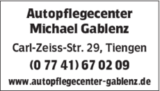 Anzeige Autopflegecenter Gablenz Michael