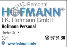 Anzeige Hofmann GmbH Personal