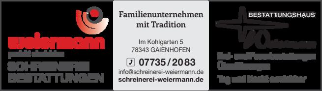 Anzeige Bestattung Beerdigung Weiermann Gerhard