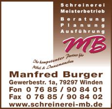 Anzeige Burger Manfred