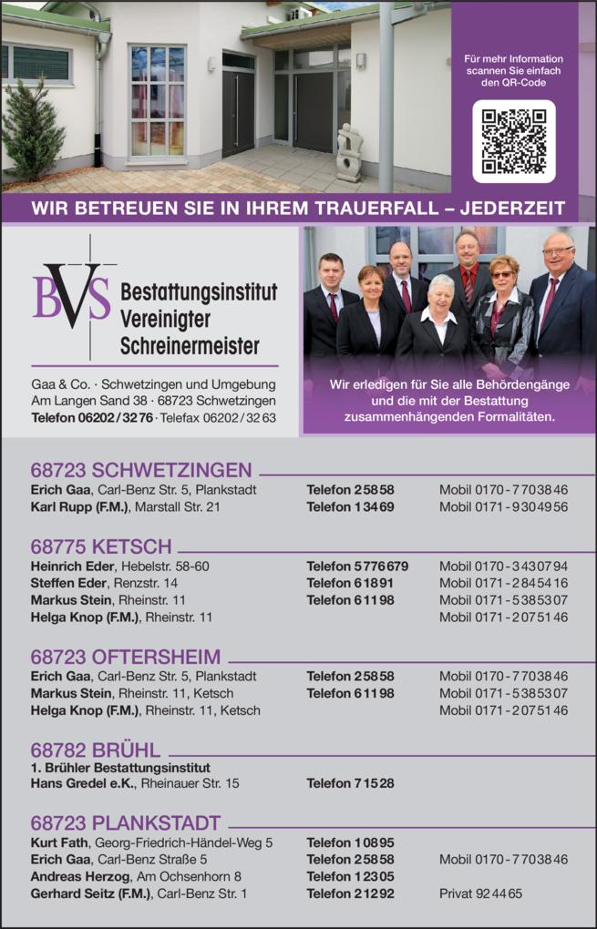 Anzeige BVS Bestattungsinstitut Vereinigter Schreinermeister