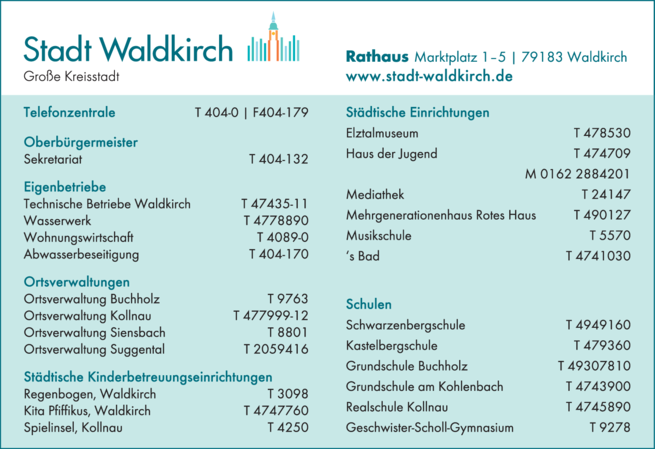 Anzeige Stadt Waldkirch