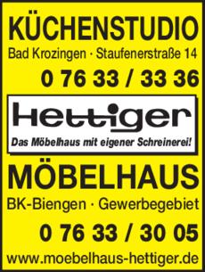 Anzeige Hettiger Möbelhaus GmbH