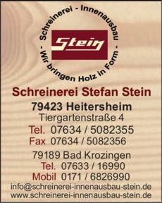 Anzeige Stein Schreinerei