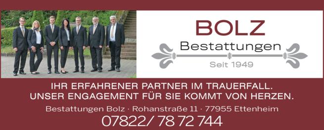 Anzeige Bestattungsinstitut Bolz GmbH