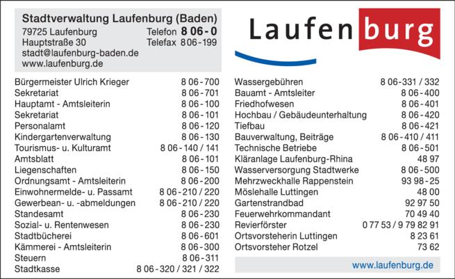 Anzeige Stadtverwaltung Laufenburg