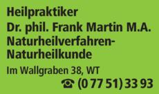 Anzeige Martin Frank M.A. Dr. phil.