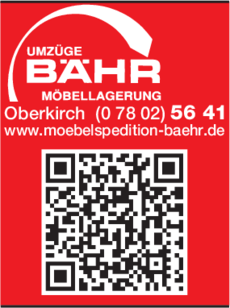 Anzeige Möbelspedition Bähr