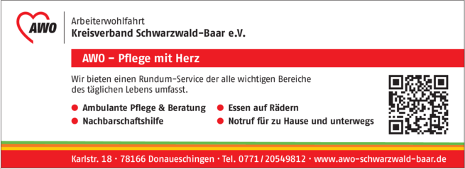 Anzeige AWO Arbeiterwohlfahrt Kreisverband Schwarzwald-Baar e.V.