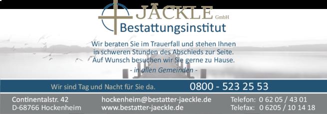 Anzeige Jäckle GmbH Bestattungsinstitut