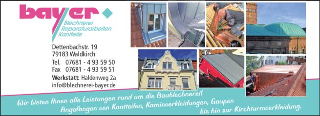 Anzeige Bayer Blechnerei