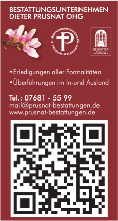 Anzeige Bestattungsunternehmen Dieter Prusnat OHG