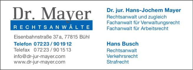 Anzeige Mayer Hans-Jochem Dr.jur.