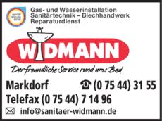 Anzeige Widmann Sanitärtechnik