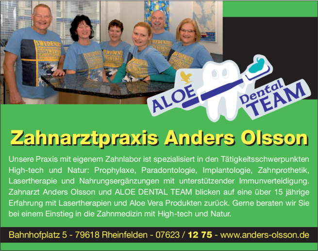 Anzeige OLSSON Anders , ALOE-DENTAL-TEAM
