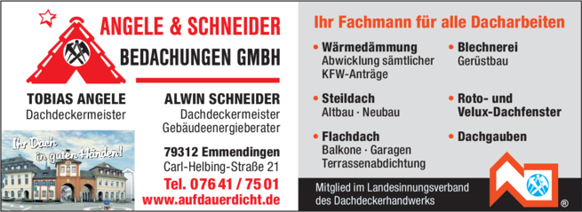 Anzeige Angele & Schneider Bedachungen GmbH