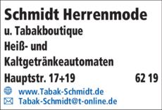 Anzeige Schmidt Herrenmode
