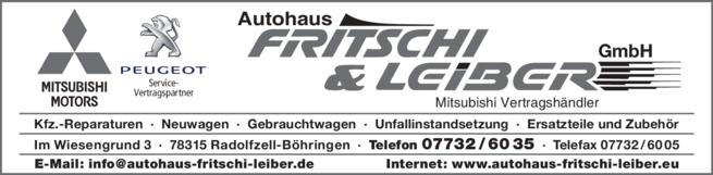 Anzeige Autohaus Fritschi & Leiber GmbH