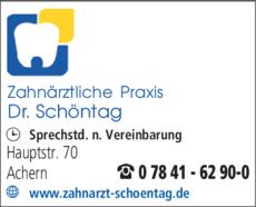 Anzeige Schoentag Dr.