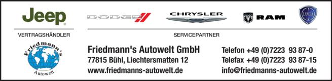 Anzeige Friedmann`s Autowelt GmbH