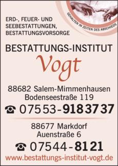 Anzeige Vogt Bestattungen