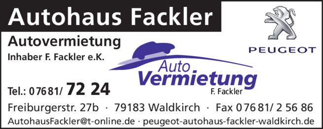 Anzeige Autohaus Fackler