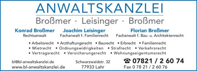 Anzeige Broßmer & Leisinger