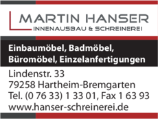 Anzeige Hanser Martin Schreinerei