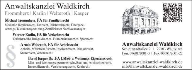 Anzeige Frommherz, Karlin,Welteroth, Kasper