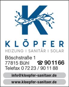 Anzeige Klöpfer Friedrich GmbH