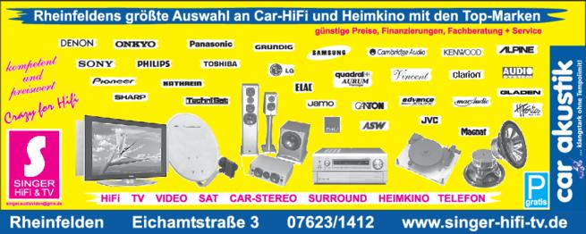 Anzeige Elektro Singer Hifi & TV