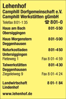 Anzeige Lehenhof Camphill Dorfgemeinschaft u. Werkstätten