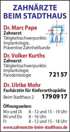 Anzeige Pape Marc Dr. , Kurths Volker Dr. , Mohr Ulrike Dr.