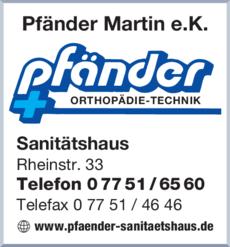 Anzeige Pfänder Martin e.K.