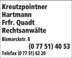 Anzeige Kreutzpointner Hartmann Frfr. Quadt