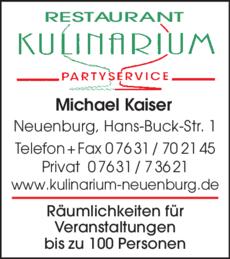 Anzeige Kulinarium Partyservice