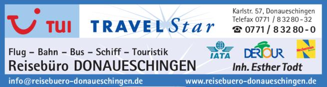 Anzeige Reisebüro Donaueschingen