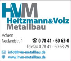 Anzeige Heitzmann & Volz Metallbau GmbH