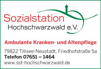 Anzeige Sozialstation Hochschwarzwald e.V.