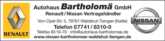 Anzeige NISSAN - RENAULT Bartholomä GmbH
