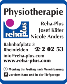 Anzeige Käfer Physiotherapie , Reha-Plus