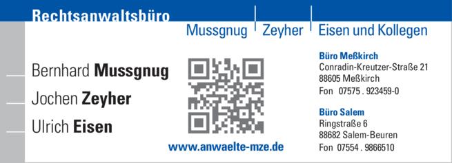 Anzeige Mussgnug | Zeyher | Eisen u. Kollegen