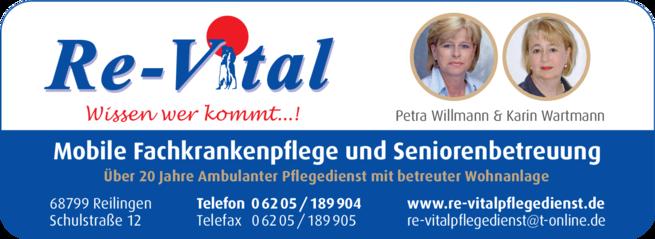 Anzeige Re-Vital Mobile Fachkrankenpflege u. Seniorenbetreuung P. Willmann & C. Wartmann