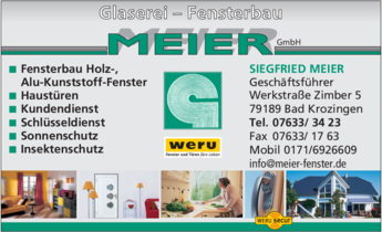 Anzeige Meier GmbH , Glaserei - Fensterbau