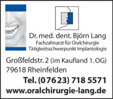 Anzeige Lang Björn Dr.med.dent. , Fachzahnarzt für Oralchirurgie