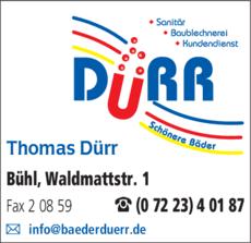 Anzeige Bleche Dürr Thomas